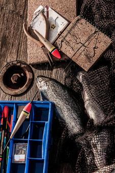 잡은 물고기와 낚시 도구 2