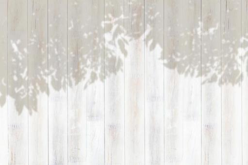 White wooden wall_shadow of leaves_background material