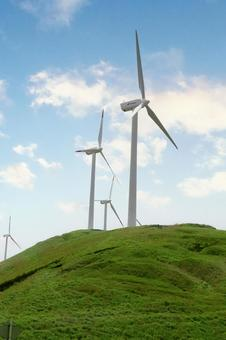 Wind power generation Clean energy 3 Blue sky Hill Cloud Eco
