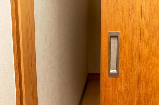 Half-open wooden sliding door