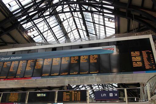Electronic bulletin board at London station