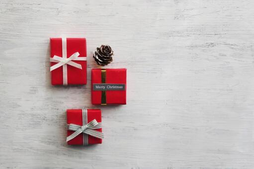 Christmas gift box and white background