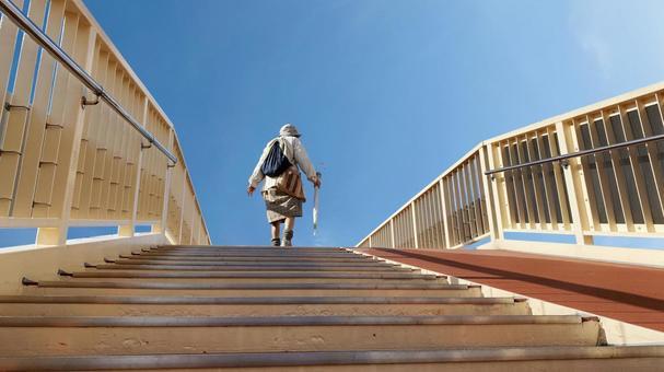 Elderly woman climbing the stairs of the pedestrian bridge