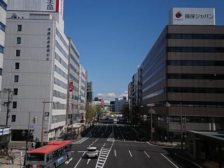 National highway No. 7 and buildings in Niigata city