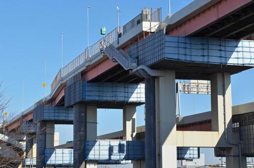 고속도로 교각 콘크리트 구조물 보수 (수리) 공사 경관