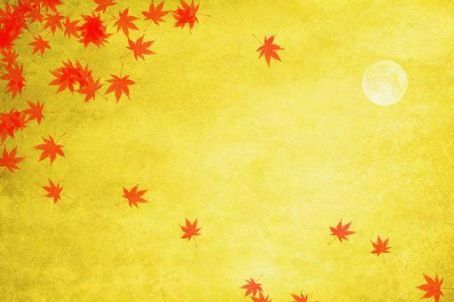 Background material of autumn leaves, moon and gold leaf | Abstract image of autumn