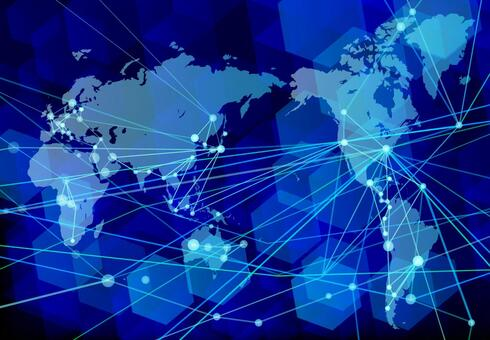 Blue background of globalization and network technology
