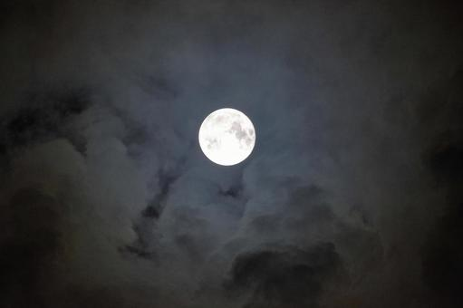 The full moon with clouds