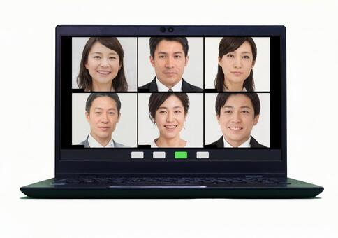 Online conferencing on laptop_psd_ telework