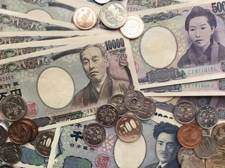 Japanese money arranged simply