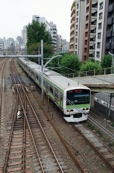 Train running on railroad 5