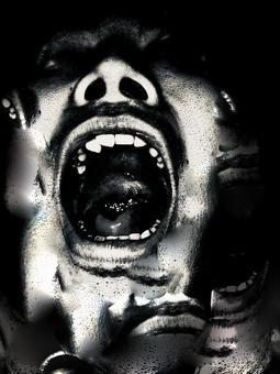 Horror, screaming male spirit