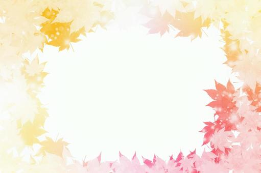 Glitter frame background with autumn leaves Cute gradation [Ideal for autumn materials ♪]