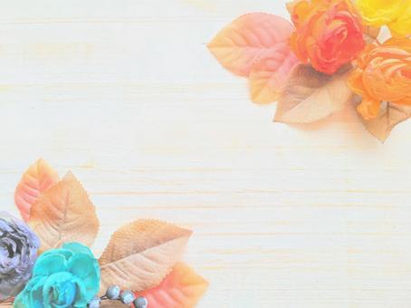 Blue and orange flower healing frame
