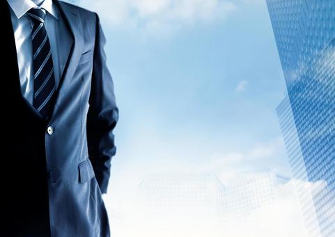 Cool image businessmen and buildings