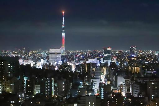 View of the night view of Tokyo Sky Tree