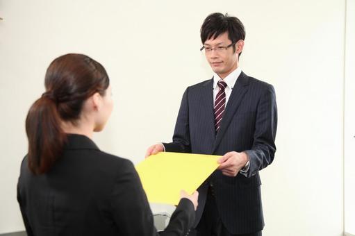 Businessman handing paperwork 5