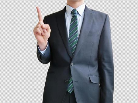 Men pointing to business points-Mock PSD files that are easy to synthesize
