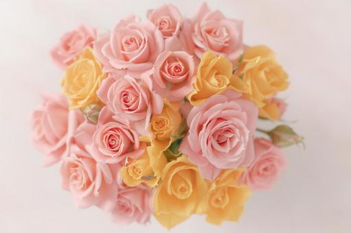 Bouquet of pale pink and yellow roses