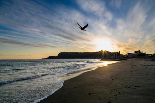Sunset sea · Hakodate mountains
