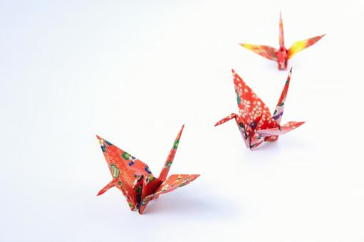Origami crane folded with colorful Japanese paper