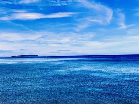 Fukuoka Prefecture Genkai Sea blue sky, blue sea and island