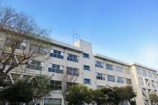Blue sky and school building