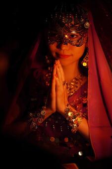 Female fortune teller holding hands