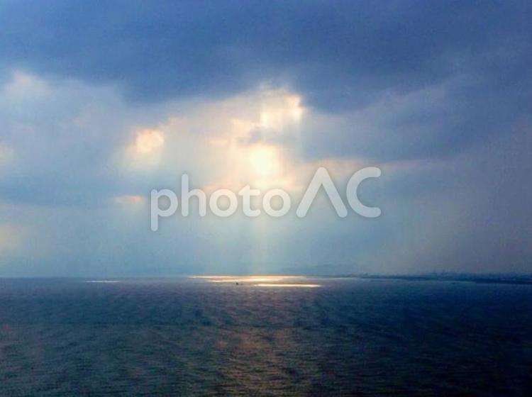 空から海へ木漏れ日2の写真