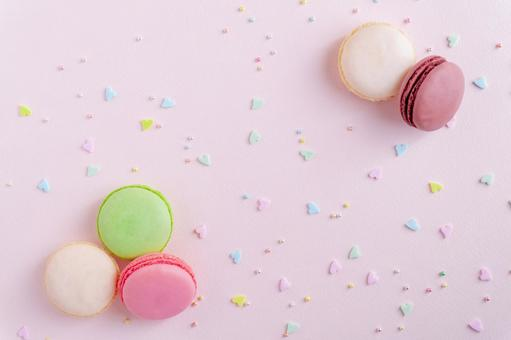 Macaron and topping sugar background