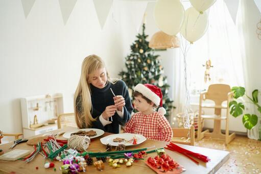 Children preparing for Christmas