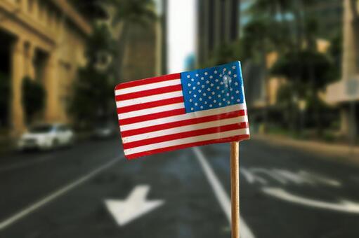 미국의 국기와 비즈니스 센터
