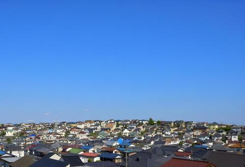 Blue sky and residential area