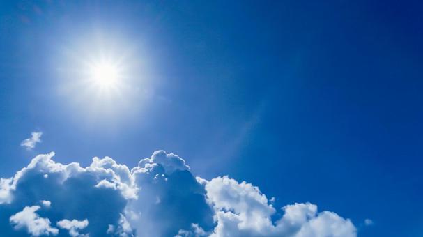 Blue sky and sun Summer material UV / sunlight image