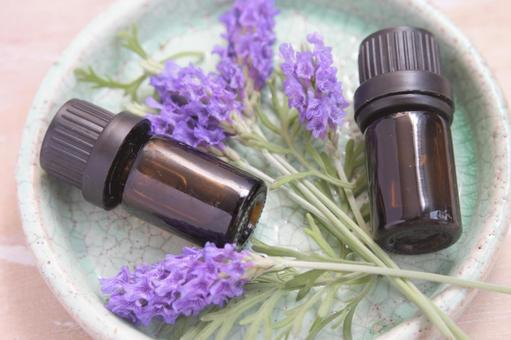 Lavender and aroma bottle