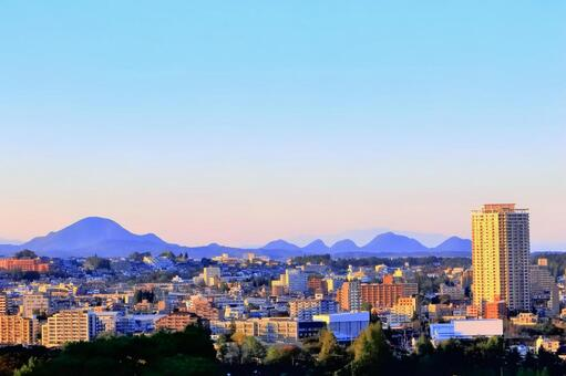 Sendai cityscape dyed in the setting sun