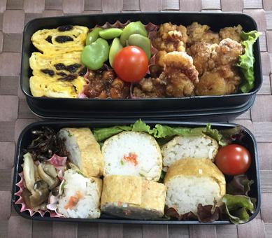 Lunch box for office workers (Inari sushi, fried chicken lunch box)