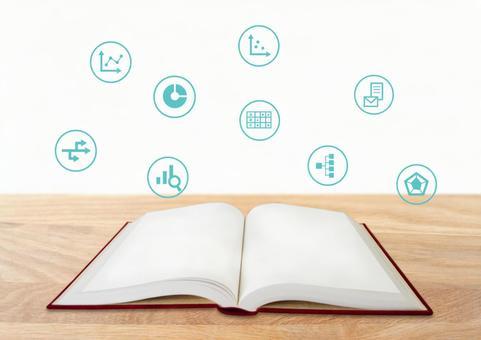 Book and desk marketing icon