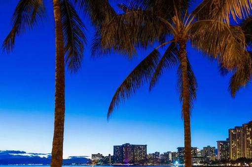 하와이 와이키키 호텔의 반짝임과 황혼