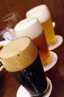 Three draft beers