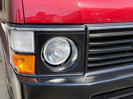 Red minivan headlights