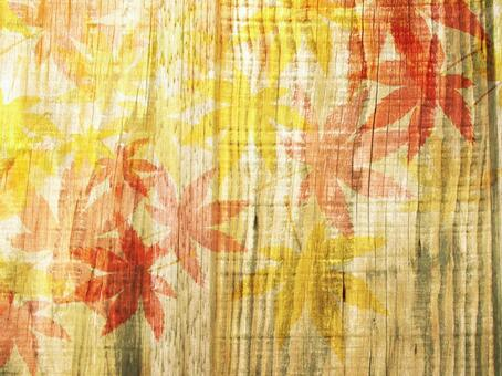 Wood grain autumn leaves 椛 background 03