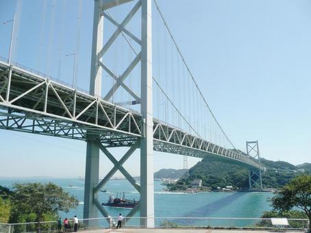 Kanmon Bridge and blue sky