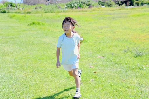 Children running on the lawn