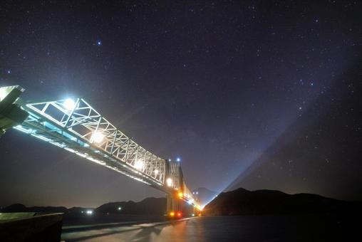 Ikitsuki Bridge and the starry sky