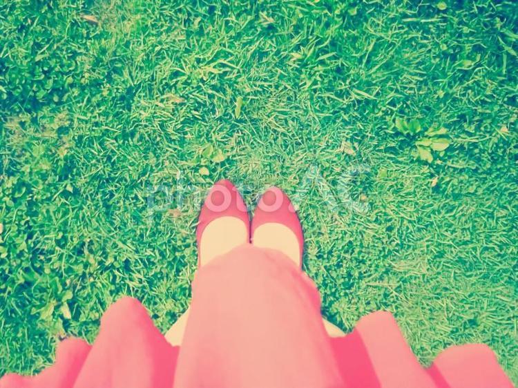 赤いヒールと芝生-トイカメラ風-の写真