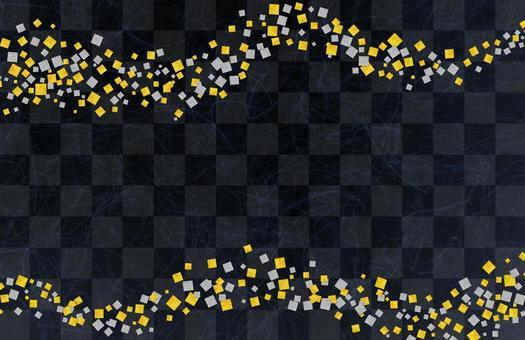 Japanese paper gilt silver foil checkered pattern - black