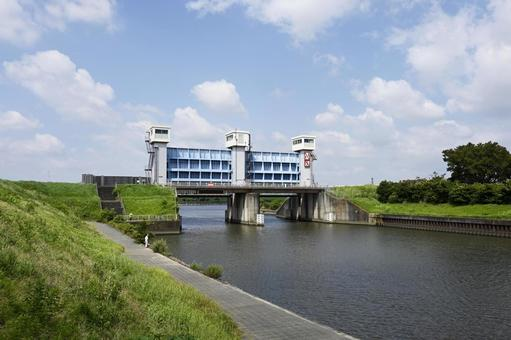 Scenery with a floodgate