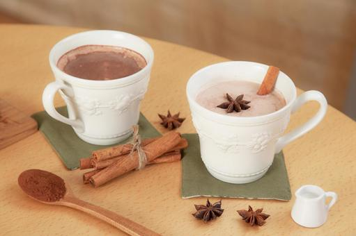 Winter drink hot cocoa and milk chocolate