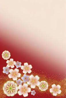 Japanese style flower pattern (red)